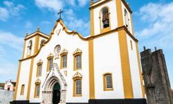 A white and yellow church in Terceira