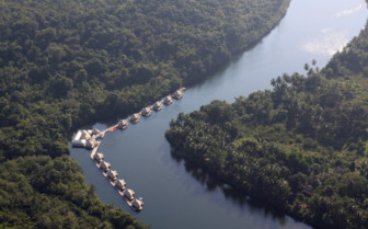 Aerial view of 4 Rivers Floating Lodge, luxury hotel in Cambodia