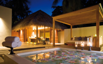 The outdoor spa area at the hotel