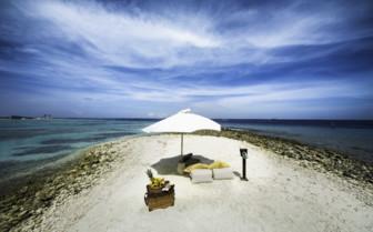 The beach at Gili Lankanfushi, luxury hotel in the Maldives