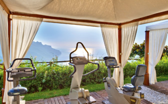 The outside fitness area at Palazzo Avino, luxury hotel in Italy