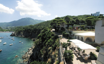 Terrace with view of the coast at Mezzatorre Resort& Spa, luxury hotel in Italy
