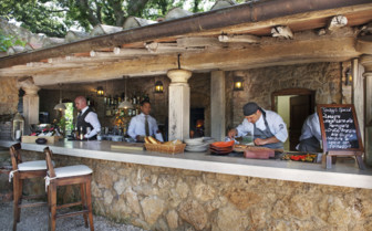 Chefs at the outside kitchen area