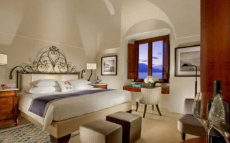 Bedroom at Monastero Santa Rosa, luxury hotel in Italy