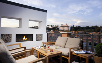The suite terrace at Portrait Roma, luxury hotel in Italy