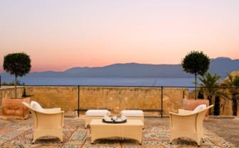 Terrace area at Cap Rocat, luxury hotel in Spain