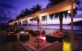 The terrace at the water at Hotel Riva, luxury hotel in Croatia