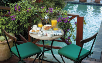 Breakfast at the private plunge pool at More Quarters hotel