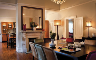 The private dining room and kitchen at the hotel