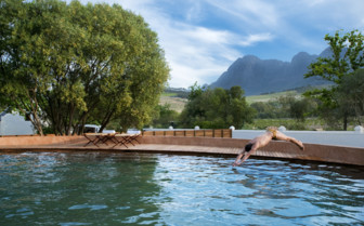 Saltwater pool at Babylonstoren, luxury hotel in South Africa