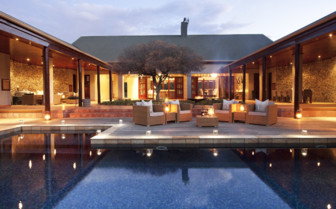 The courtyard and pool at Kwandwe Private Game Reserve