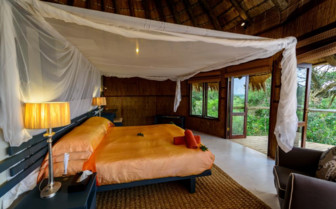 The deluxe ocean view bedroom at the lodge