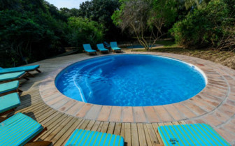 The swimming pool at the lodge