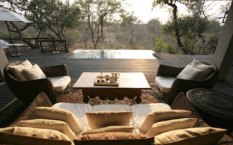 The terrace with pool at Royal Malewane