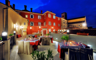The terrace restaurant at Hotel Kastel