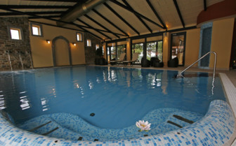 The indoor pool at the hotel