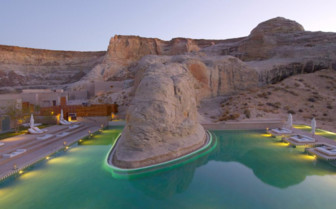 The swimming pool surrounded by rocks