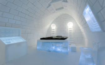 Bedroom at Ice Hotel, luxury hotel in Swedish Lapland, Sweden
