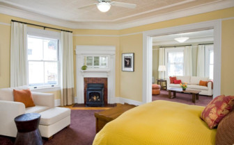 The spacious suite interior at Cavallo Point, luxury hotel in the Big Sur