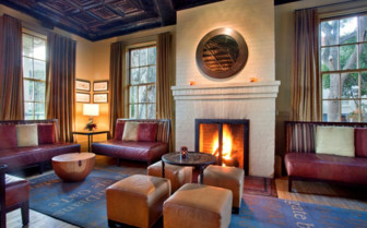 The fireplace at  Cavallo Point hotel