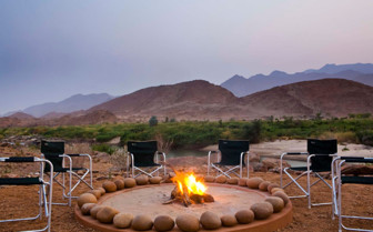 Bonfire at Okahiringo River Camp