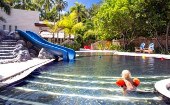 Water slide in kids swimming pool
