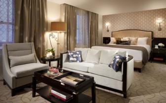 Bedroom at Rosewood Hotel Georgia, luxury hotel in British Columbia, Canada
