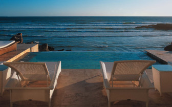 Pool terrace with ocean view at Birkenhead House