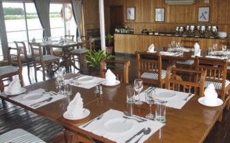 The restaurant at Assam Bengal Navigation Boats