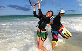 Kitesurfing at beach