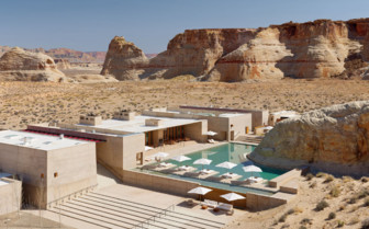 Aerial view of the Amangiri hotel, luxury hotel in the Great American Wilderness