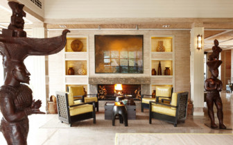The reception lounge at Delaire Graff Estate hotel