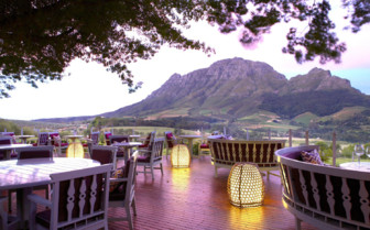 The restaurant deck at Delaire Graff Estate hotel