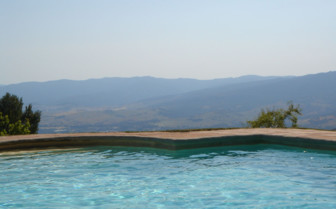 The pool with mountain view at La Almuna