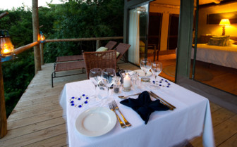 Private dining on suite balcony at the hotel