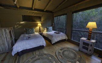 The twin bedroom at Rocktail Beach Camp