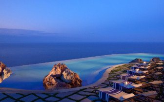 The pool area at Monastero Santa Rosa, luxury hotel in Italy