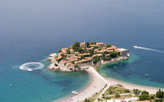 Aerial view at Aman Sveti Stefan, luxury hotel in Montenegro
