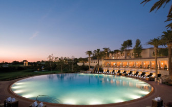 The hotel pool in the evening at The Resort at Pelican Hill