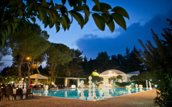 View of the swimming pool by night