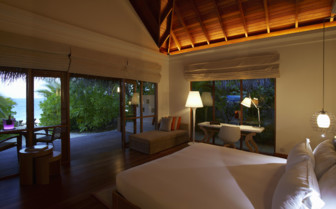 Bedroom at Huvafen Fushi, luxury hotel in the Maldives