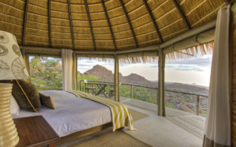 Bedroom view at Mowani, luxury camp in Namibia