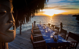 Picture of sunset outdoor dining at Fundu Lagoon
