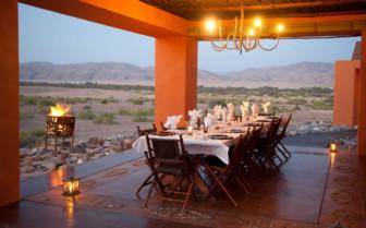 Dinnig at Okahirongo Elephant Lodge, luxury Lodge in Namibia