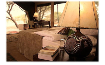 Interior of a tent at the Ranch