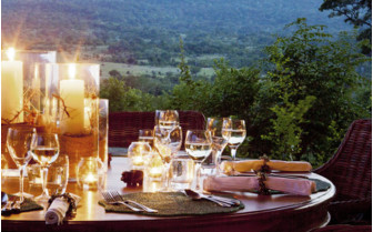 Dinner with view across the hills
