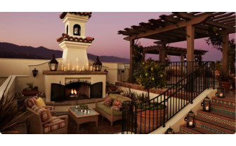Fireplace at the rooftop terrace