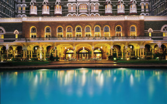 The poolside at The Taj Mahal Palace, luxury hotel in Mumbai, India