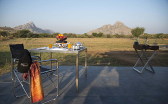 Dining at Jawai Leopard Camp, luxury camp in India