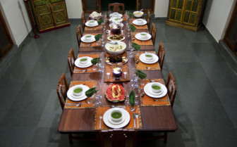Dining at Forsyth's Satpura, luxury hotel in India
